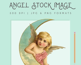 Vintage Angel Illustration Painting Clip Art Stock Image High Quality Digital Download Printable 300dpi