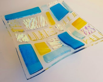 Yellow and blue fused glass square dish
