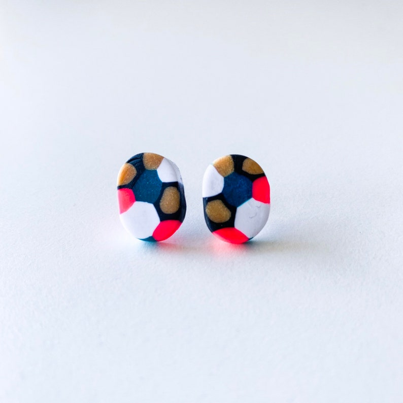 colorful modern oval studs niece gifts Polymer clay stud pack simple handmade everyday jewelry matte grey small round terrazzo earrings
