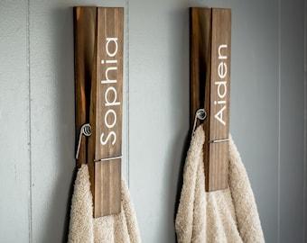"Jumbo Clothespin Bathroom Towel Holder, One 12"" large clothespin,  laundry room decor, farmhouse bathroom decor, personalized towel hooks"