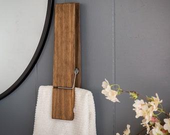 """Jumbo Clothespin Bathroom Towel Holder, 6"""" and 9"""" clothespins, farmhouse decor, bathroom decor, laundry room decor, bathroom wall decor"""