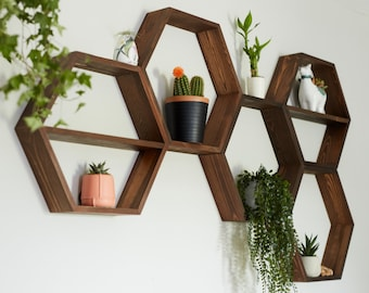 Hexagon Shelves, floating shelf, Honeycomb Shelf, crystal shelf, wood hexagon, plant shelf, rustic display shelves, crystal display shelf