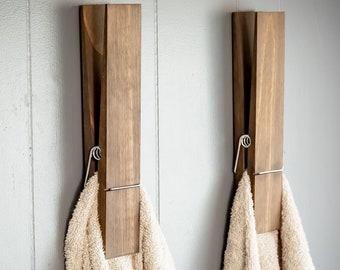 """Jumbo Clothespin Bathroom Towel Holder, One 12"""" clothespin, farmhouse decor, bathroom decor, laundry room decor, bathroom wall decor"""