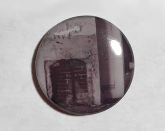 Abandoned House Pin - Creepy Button - Urban Exploration Pin - Fireplace Photograph Pin - Horror Button - Original Art Pin