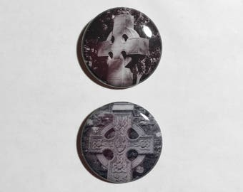 Celtic Cross Button - Irish Cross Pin - 2 Styles To Choose From - Film Photo Pins - Cashel Ireland Pinback Button - St Patrick's Day Pins