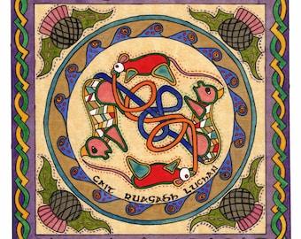Cats Chasing Mice Watercolor Print - Celtic Art - Irish Art - Knotwork Art - Celtic Knotwork Print - Irish Knotwork - Illuminated Manuscript