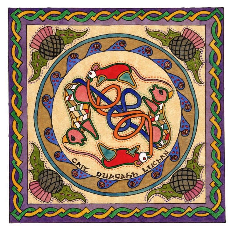 Cats Chasing Mice Watercolor Print  Celtic Art  Irish Art  image 0