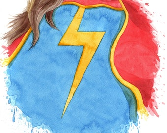 Ms Marvel Watercolor Print - Kamala Khan - Comic Book Art Print -Ms Marvel Art - Ms Marvel Print