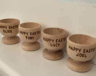 Personalised Wooden Egg Cup - Hand Pyrography - Easter Gift