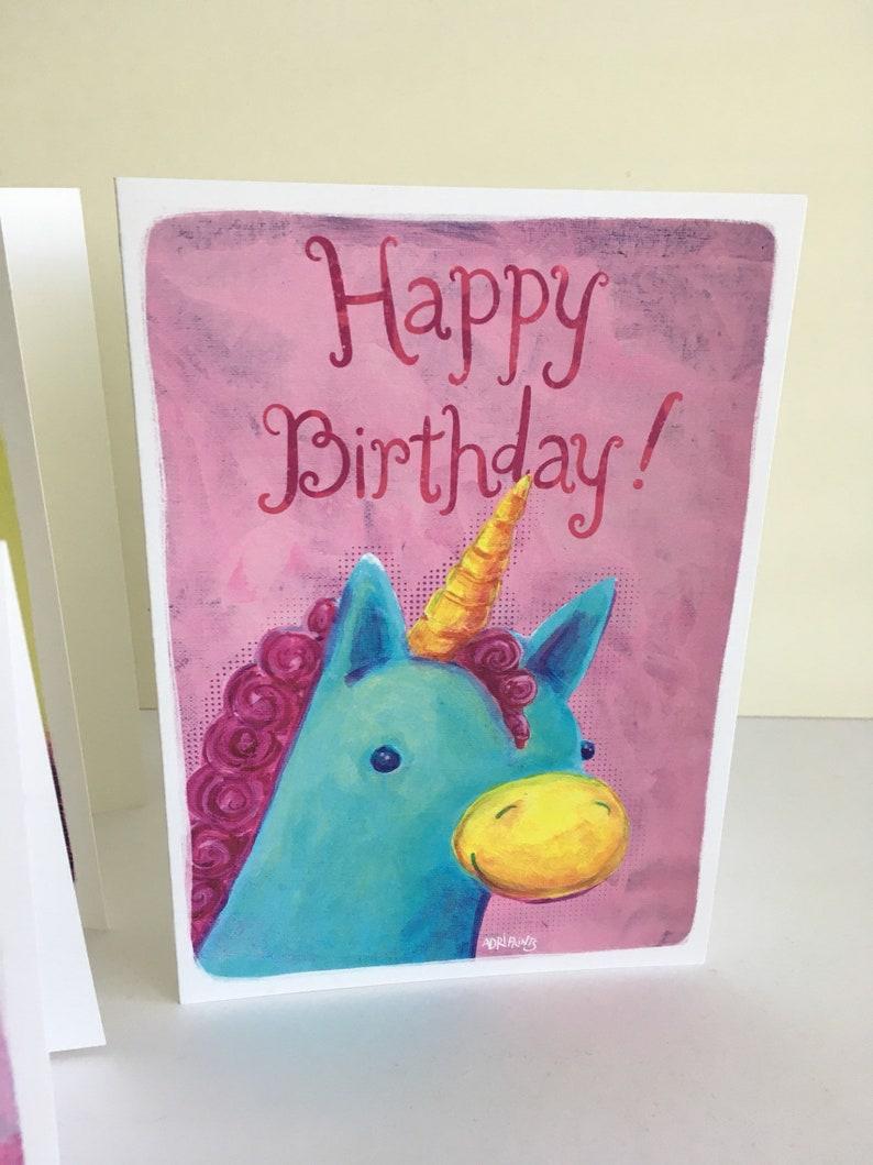 Elephant Unicorn Pink /& Purple Happy Birthday Greeting Card 6-pack Cupcake featuring art by Adriana Bergstrom