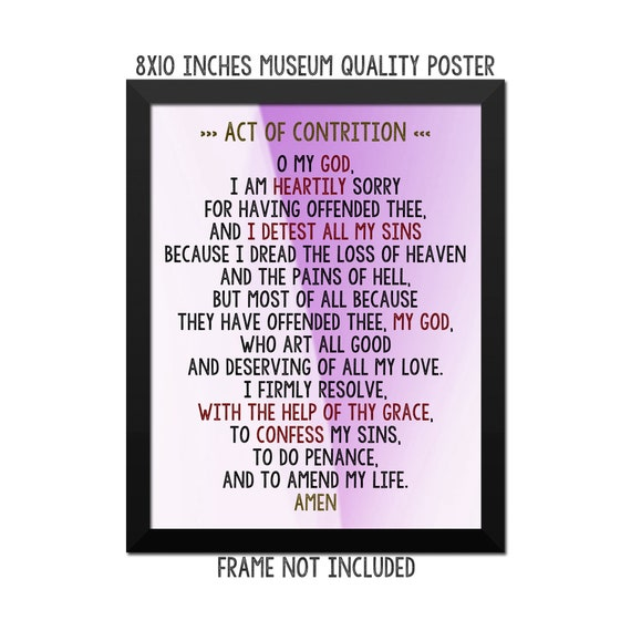 photograph relating to Act of Contrition Prayer Printable titled Act of contrition Prayer - Artwork Print - Poster - Catholic Prayer - Catholic Wall Artwork - Spiritual Wall Decor - Prayers