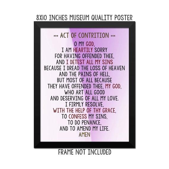 photograph regarding Act of Contrition Prayer Printable referred to as Act of contrition Prayer - Artwork Print - Poster - Catholic Prayer - Catholic Wall Artwork - Non secular Wall Decor - Prayers