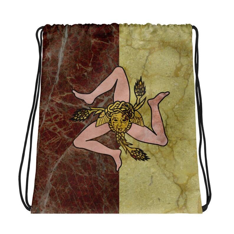 Trinacria of Sicily cute gifts Drawstring bag Sicilia bag Sicilian gift idea designed by terrytiles2018