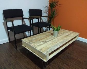 Reclaimed Wood Coffee Table With Steel Hair Pin Legs
