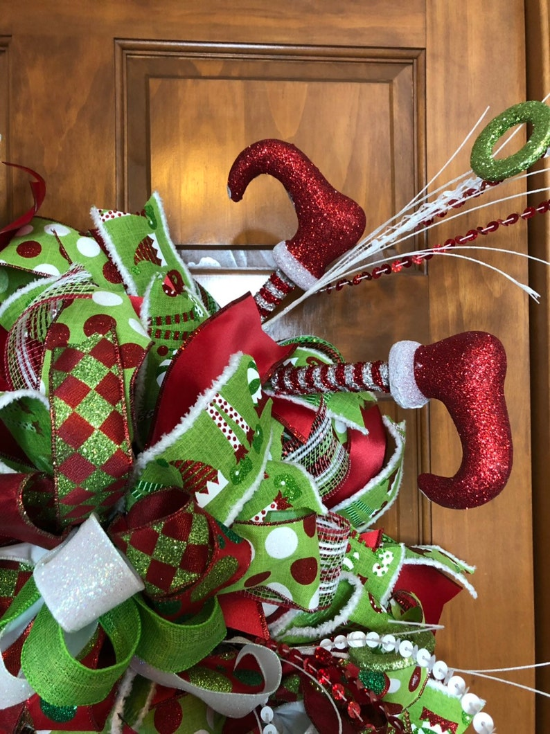 Christmas Elf Wreath for Double Doors with Hand Painted Elf on Wood Sign and Large Holiday Glittered Bows for Grand Entryway Decor