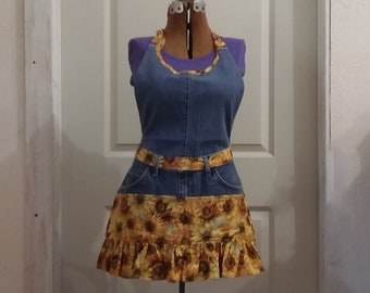 Ladies Full Apron, Upcycled Denim and Sunflowers