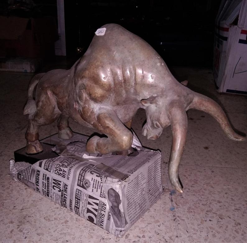 Unique Fine Art Collectable Home Decoration Matador Animal Spanish Bull Bronze Brass Statue 13 with Stand