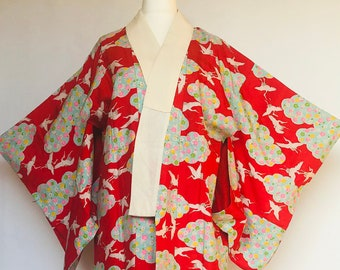 Men/'s vintage nagajuban *damaged* Vintage nagajuban for kitsuke or DIY fabric recycling 148cm Made in Japan