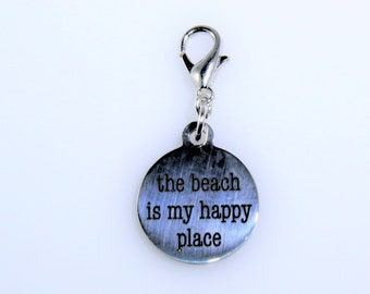 The Beach is my happy place planner charm, the beach is my happy place travelrs notebook charm, beach tn charm, beach planner, summer