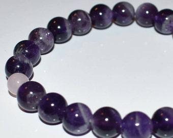 Amethyst and Rose Quartz healing love bracelet