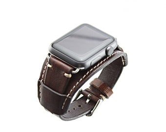 Leather Apple Watch cuff bracelet. Hand made cuff in full grain vegetable tanned leather. Apple watch leather cuff 42mm Chocolate
