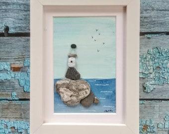 Pebble art, seaside painting