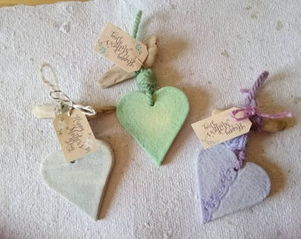 rustic style, heart for  mothers day, salt dough ornaments, gift idea for mom, hanging decor, driftwood decor , wall decor