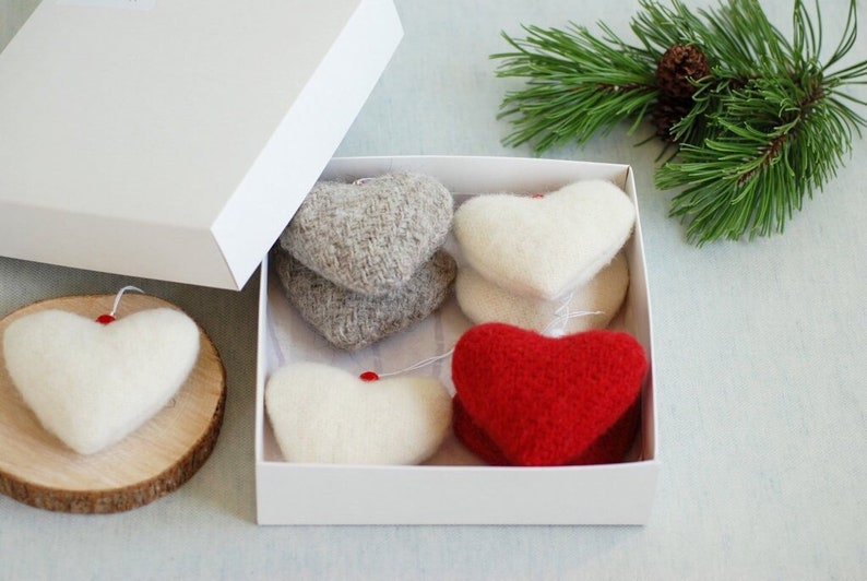 Wool Christmas Hearts Ornaments set of 4 Red Ivory Grey Heart image 0