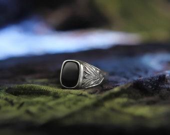 Elegant Style Made in Greece Unisex Ring Men  Women Ring 925 Sterling Carnelian Square Gift for Her Boho Gift for Him
