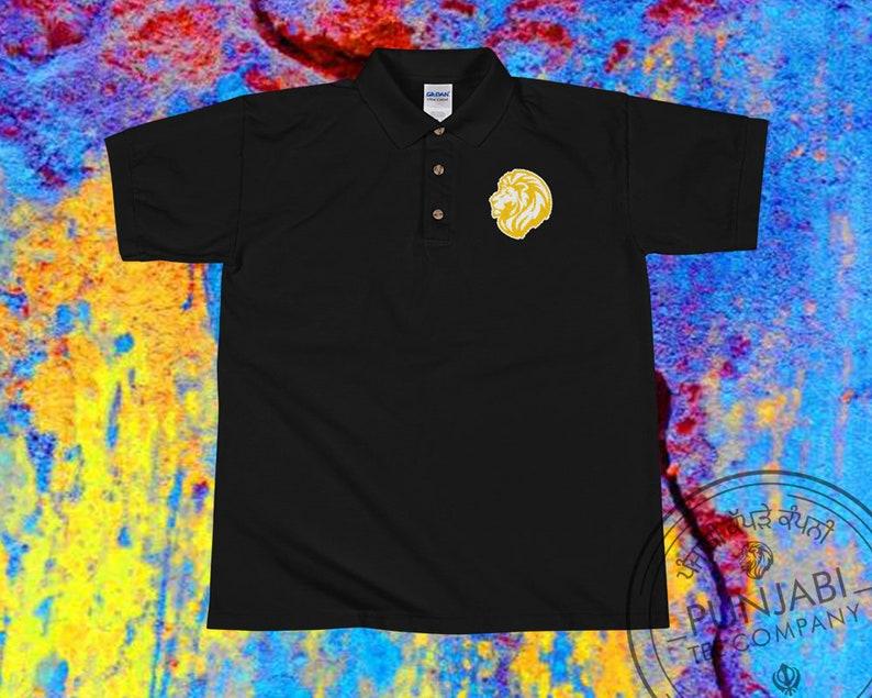 Indian Desi Tee Proud Punjab Polo Punjabi Gold Lion Tee Diwali Vaisakhi Gift Sikh Pride Polo Tee Proud Lion Gold Embroidered Polo Shirt