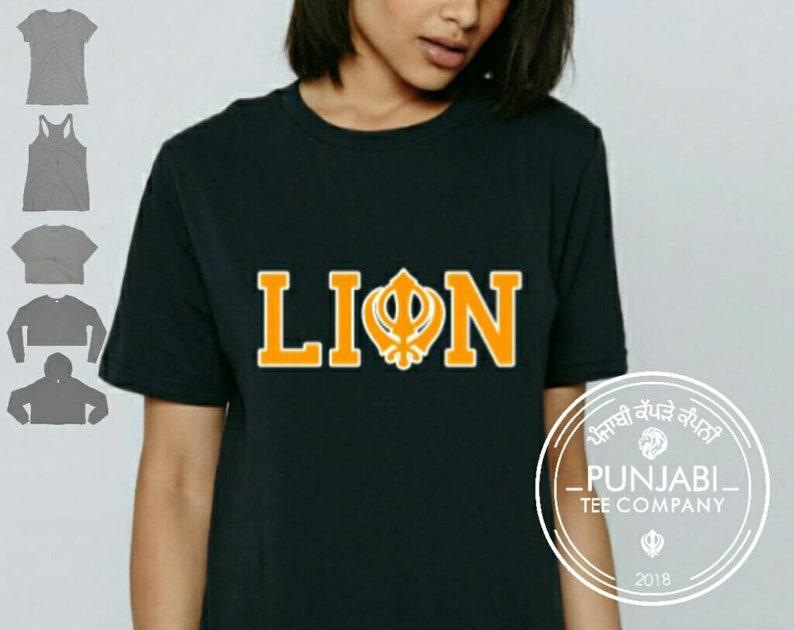 ce668b55 Punjabi Lion Khanda Tee Womens T-shirt Lady Crop Top Girls | Etsy