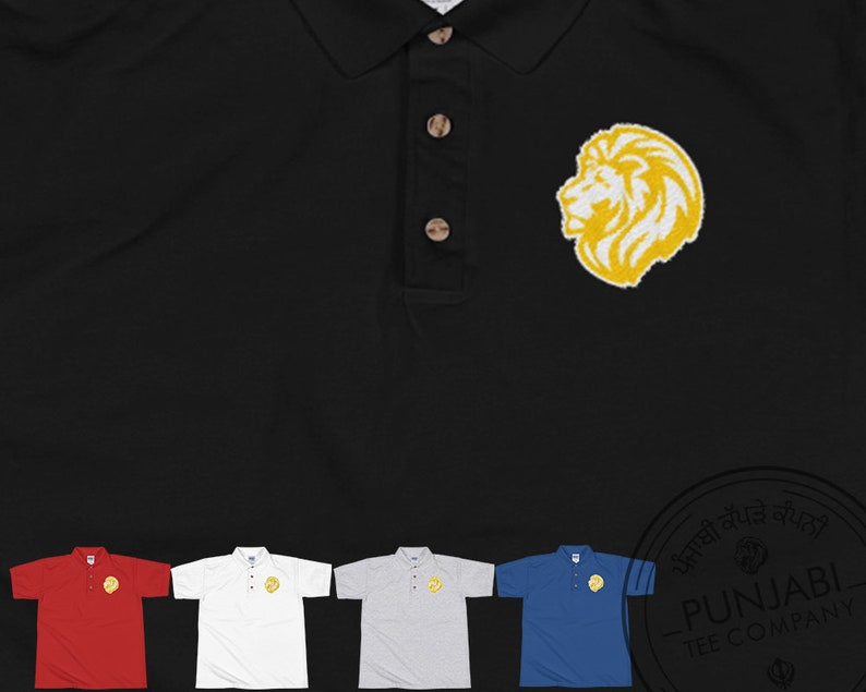 60670727 Proud Lion Gold Embroidered Polo Shirt Punjabi Gold Lion Tee | Etsy