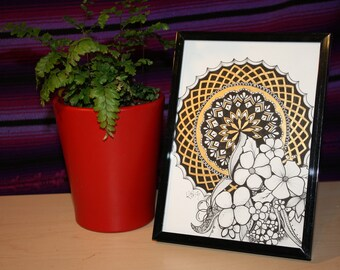 Hand drawn original Mandala drawing with gold accent paint  5x7