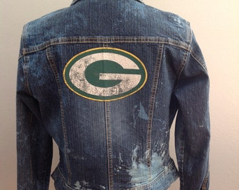 Green Bay Packers Upcycled bleached distressed jean jacket woman s size  small gift for wife 48bbc4c5e
