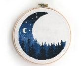 Landscape in half of moon counted cross stitch pattern forest mountains wood tree stars sky - Cross Stitch Pattern (Digital Format - PDF)