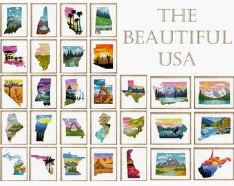 The Beautiful USA 50 in 1 counted cross stitch pattern Set of 50 patterns landscape silhouette - Cross Stitch Pattern (Digital Format - PDF)