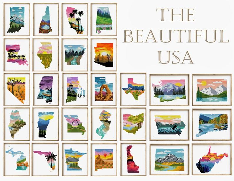 Cross Stitch Pattern Digital Format - PDF The Beautiful USA 50 in 1 counted cross stitch pattern Set of 50 patterns landscape silhouette