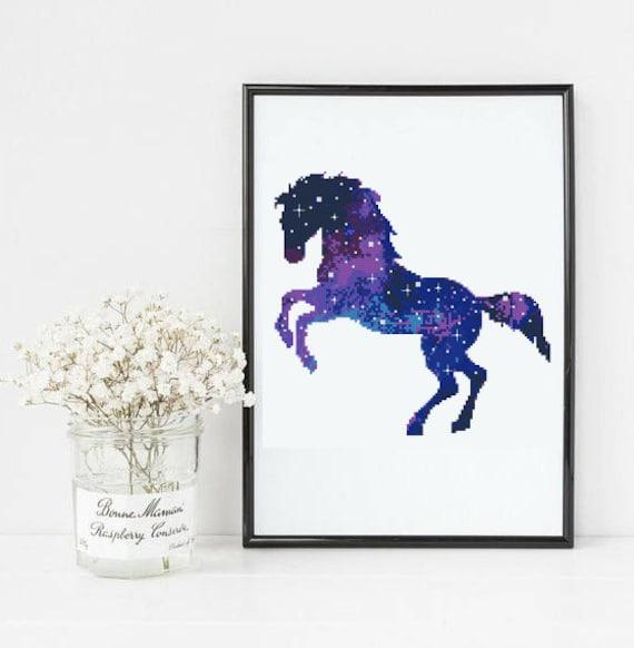 Galaxy Horse Cross Stitch Star Sky Camping Nature Modern Etsy