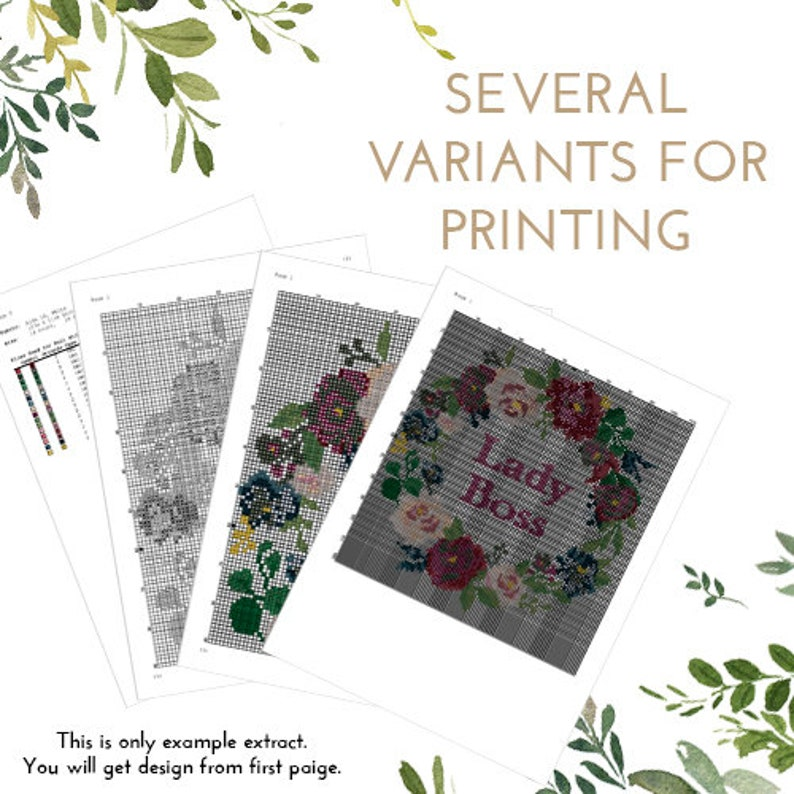 Set of 4 Feminist counted cross stitch pattern floral flowers woman symbol ovary xstitch chart Cross Stitch Pattern Digital Format - PDF