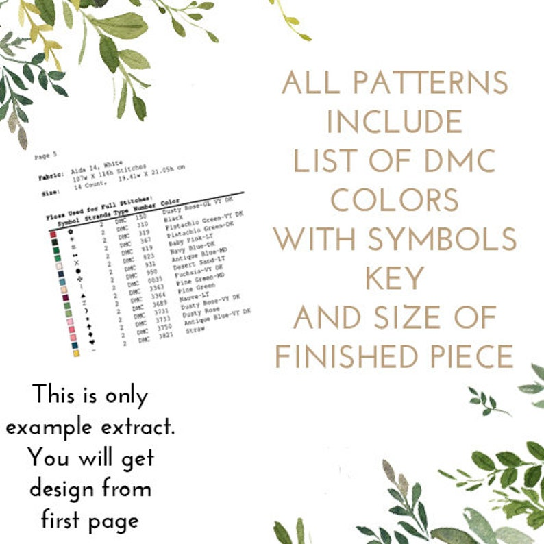 Cross Stitch Pattern Floral wreath birth announcement counted cross stitch pattern baby nursery personalized custom Digital Format - PDF