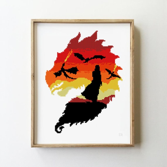 Dragon counted cross stitch pattern woman queen fire wolf tv show  silhouette -Cross Stitch Pattern (Digital Format - PDF)