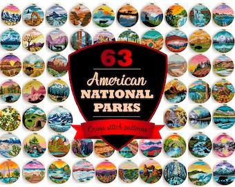 63 National Parks PDF counted cross stitch patterns Arches Zion Mount Rainer Yellowstone - Cross Stitch Pattern (Digital Format - PDF)