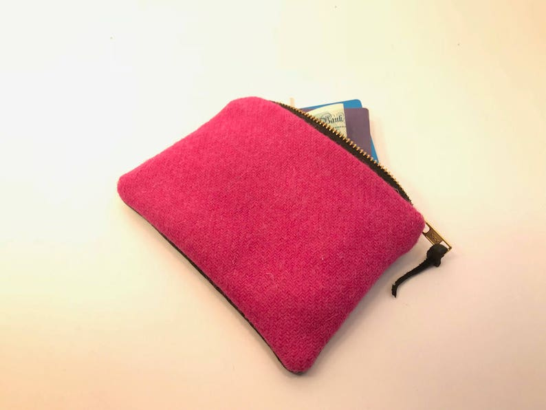 Hot Pink Harris Tweed /& Black Leather Midi Purse Mother/'s Day gift large coin purse personalised purse gift for her