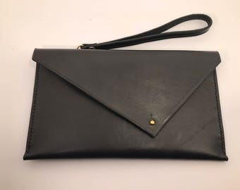 Hand made black Leather Envelope Clutch Bag, Hand Stitched Leather Clutch bag, Evening bag, gift for her, 3rd year anniversary gift