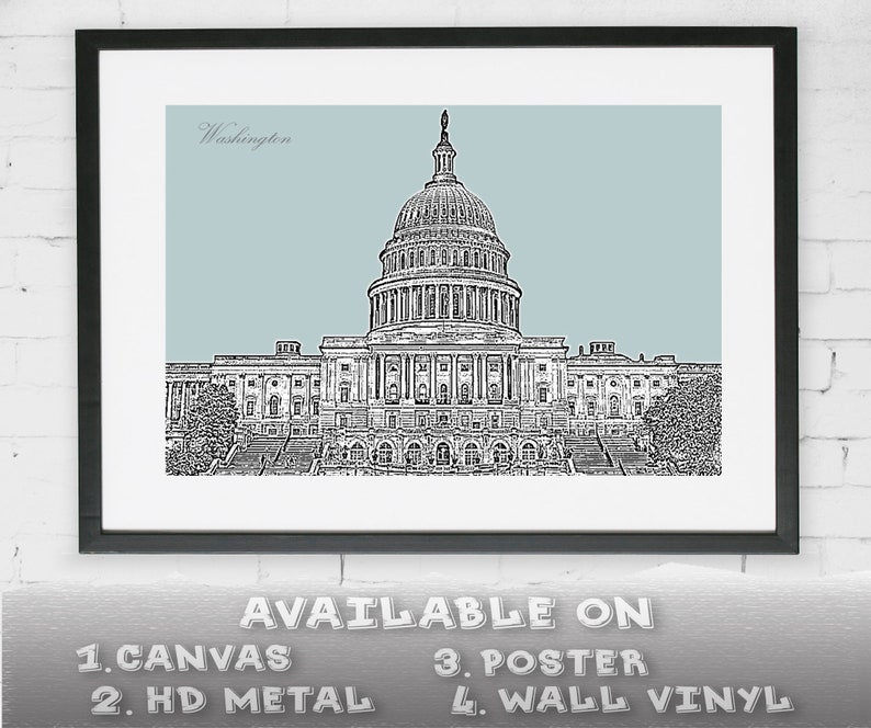 Washington, D C  Skyline Downtown on Canvas Poster Sticker Decal Metal  Pencil Drawing Wall Decor Art Black&White Color Background