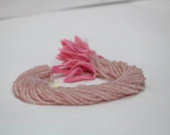 Rose Quartz Faceted Rondelle Beads 3.5-4mm