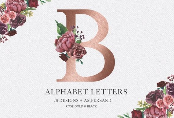 Watercolor Floral Alphabet Rose Gold Alphabet Monogram Etsy