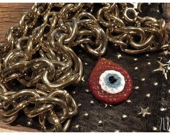 I Chains 7LR 80s chained red evil eye (vintage chains)
