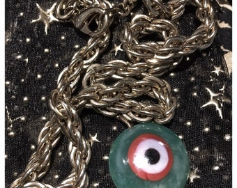 I Chains 7LR 80s chained green evil eye (vintage chains)