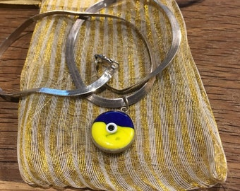 I Chains 7LR yellow blue silver murano pendant on italian vintage chain